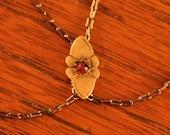 Antique GF and Garnet Slide Necklace