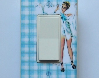 Laundry room Switchplate covers & MATCHING SCREWS- Retro pin ups switchplate pinup wall art decoration pin up girl posters retro kitchen art