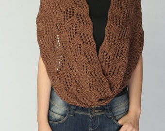 Hand knitted wool poncho knit shrug coffee neckwarmer tube scarf -  the last one!
