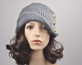 Hand knit woman hat Fold band hat in light grey with button wool hat-ready to ship