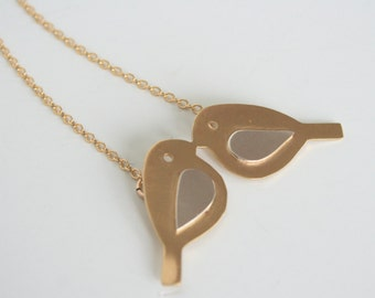 Love Birds Necklace, Kissing Birds Necklace, Two Birds Necklace, Bird Jewelry, Valentines Jewelry, Modern Jewelry, Silver and Gold Necklace