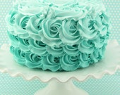 "Fake Rosette Cake Ombre Cake Turquoise, Robin Egg Icing. Approx. 8.25""w x 4.75""h Smash Cake Prop First Birthday."
