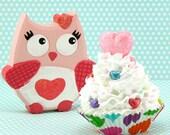 Valentine Fake Cupcake. Ruffle Fake Cupcake with Pink Glittery Heart. Photo Prop, Kitchen Decor. 12 Legs Etsy Design! READY TO SHIP!