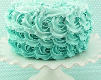 """Fake Rosette Cake Ombre Cake Turquoise, Robin Egg Icing. Approx. 8.25""""w x 4.75""""h Smash Cake Prop First Birthday."""