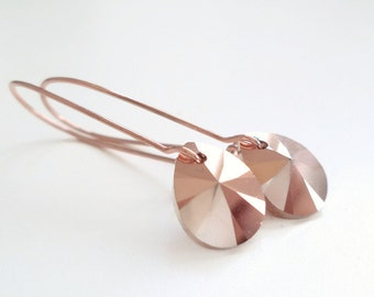 rose gold pear crystal teardrop earrings - blush pink - rose gold earrings