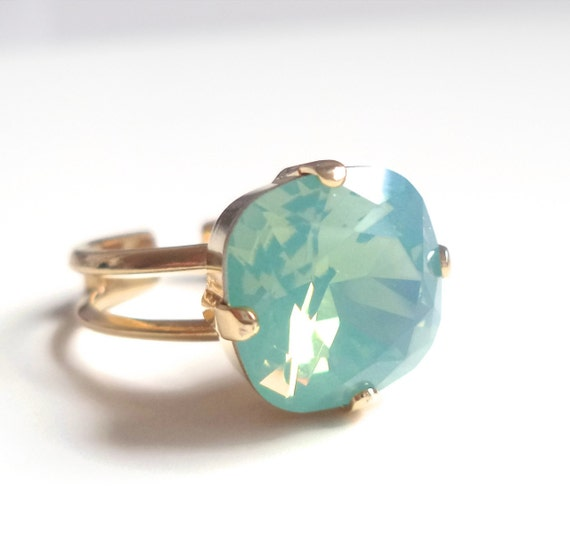 Mint opal square stone crystal ring cushion cut crystal ring