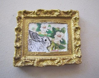 dollhouse miniature picture of rabbit and flowers in porcelain frame