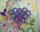 Valentine Tatting Purple Heart Bookmark