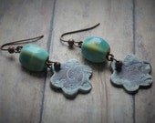 Light Turquise Squared Ceramic Beads on Antiqued Brass with Hand Made Clay Floral Dangle by Brooke Baker of AidensBrook