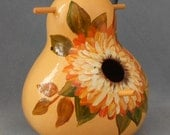 Hand Painted Bird House Gourd Burnt Orange Dahlia