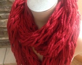 "CYBER SALE 20% off ""CYBER2014"" code-Red Arm Knit Infinity Scarf"