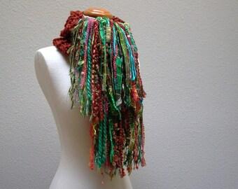 phoenix rising. handknit chunky scarf . art yarn fringe scarf . warm winter wool knit scarf shawl wrap . rust teal green turquoise gold