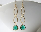 Emerald Green Infinity Drop Earrings Valentine