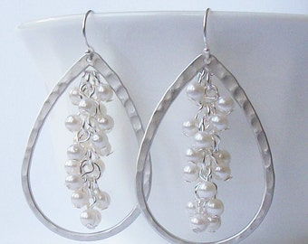 Silver Hammered Pearl Cluster Earrings