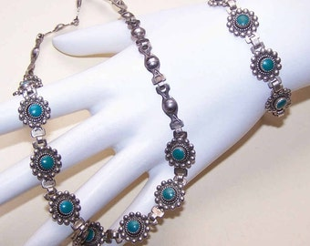 Native American STERLING SILVER & Recon Turquoise Necklace and Bracelet