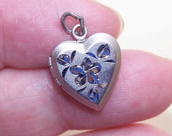 Vintage STERLING SILVER Locket Charm - Heart with Engraving