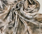 Hand Painted Fringed Scarf - Hand Dyed Scarves Fringe Black Gray Grey Charcoal Chocolate Brown Neutral