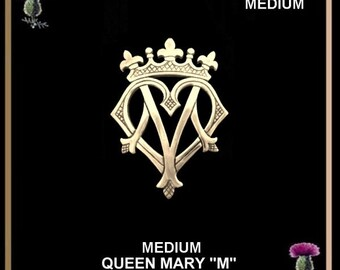"Queen Mary ""M"" Medium Luckenbooth Brooch - Gold"