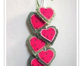 Watermelon Heart hanging, Watermelon Fabric Hearts, Watermelon Decor, Summer Wall Hanging