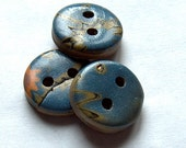 Blue and Green Mokume Gane Buttons  No. 232