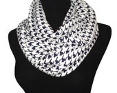 Navy Blue Houndstooth Infinity Scarf-Circle, Loop, Eternity All Seasons Scarf