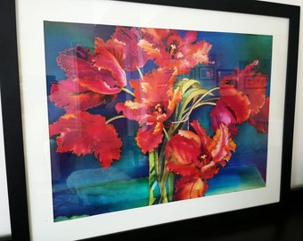 "Textile Wall ART Panel. Hand-Painted Silk-Fabric Picture. Tulips. Modern Art Object. Framed. 24""x36"""