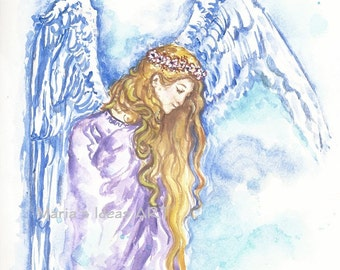 Angel art, Watercolor Angel, Ethereal Art, Spiritual art, Big Blue Wings Print, wings, angel
