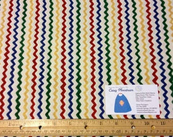 Red, Green, Yellow, Blue Wavy Line Fabric - 1.5 yard