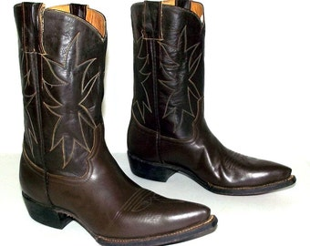Vintage Dark brown leather western cowboy boots size 4 D / womens size 5.5