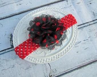 baby headband, ladybug headband, polka dot headband, photo prop, crochet headband, black red headband, baby girl headband, first birthday