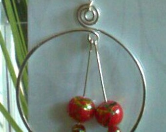 Fine Silver Hoops with  red and gold beads.