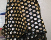 Vintage Voile type Fabric by the Yard in Gold Dots on Sheer Black, Very Washable, Dryable, packs like a Dream