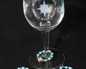 Set of 4 Christmas Jingle Bell Wine Charms-READY TO SHIP