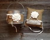 Personalized Ring Bearer Pillow and Personalized Flower Girl Pail, Rustic Ring Bearer Pillow, Custom Flower Girl Basket, Burlap Wedding