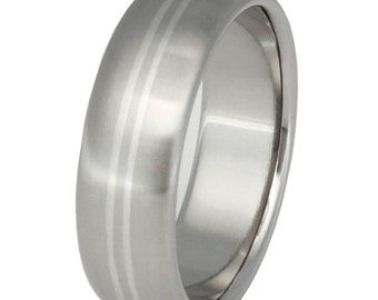 Platinum Titanium Band - Two Platinum Stripes Ring - p1
