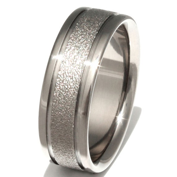 Titanium Frost Wedding Band  - Unique Textured Ring - Waterfall - f5