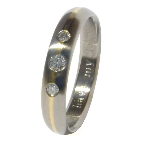 Titanium Gold Engagement Ring - Diamond Engagement Ring - e11