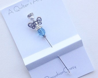 Pale Blue Crystal Angel Pin - Quilters Angel - Dress up your Pincushion - Gift for Quilter - Angel Stick Pin - Secret Sister Gift
