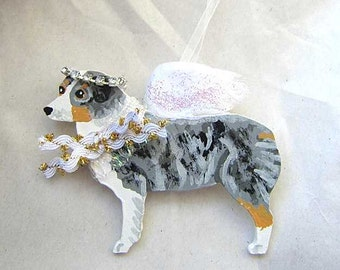 Hand-Painted AUSTRALIAN SHEPHERD Blue Merle Feathered Wing Angel Wood Ornament