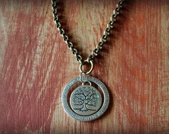 Tribal Silver and Antique Brass Necklace Double Pendant w/Tree of Life