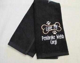 Pembroke Welsh Corgi Hand Towel, Pet Towel, Grooming Towel, Embroidered Dog Towel