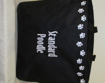 Standard Poodle Tote Bag, Carrier, Personalized, Embroidered