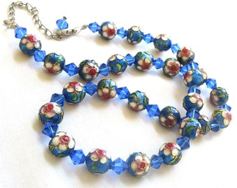 Vintage Blues, Red & Green Cloisonne with Gold Beading and Crystals Bead Necklace