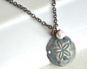 Small Sand Dollar Necklace - Ocean Jewelry, Beach Jewelry, Copper, Aqua, Pearl