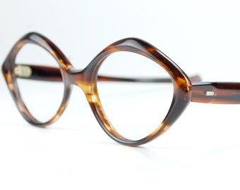 Triangle Tortoise French Cat Eye Glasses Frames  Geometric Optical Frame France NOS Vintage 1950s