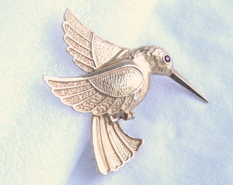 Hummingbird Brooch Vintage Hummingbird Bird Figural Pin Large Rhinestone Eye