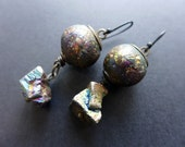 Acosmist. Textured iridescent polymer earrings with rainbow titanium pyrite.
