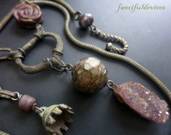 Toska. Chunky rustic assemblage necklace with druzy amethyst, tourmaline and archeological find. Violet lavender lilac.