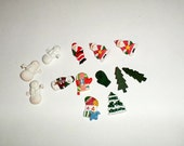 Plastic Novelty Buttons - Christmas Buttons - Santa Buttons - Snowman Buttons - Winter Novelty Buttons - Holiday Buttons - Mitten Buttons