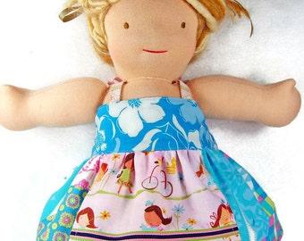 Blue pink apron doll dress, 10 12 13 15 inch Waldorf doll clothes 18 inch American Girl doll dress Bitty Baby Bitty Twin M2M Matilda Jane